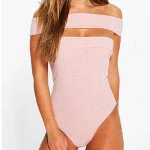 Petite off the shoulder ribbed body suit